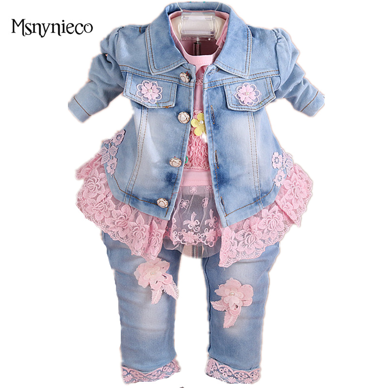 цена на Baby Girl Clothes Sets 2017 Brand Autumn Fashion Lace Floral Denim Jacket+T-shirt+Jeans Kids 3pcs Suit Infant Baby Clothing