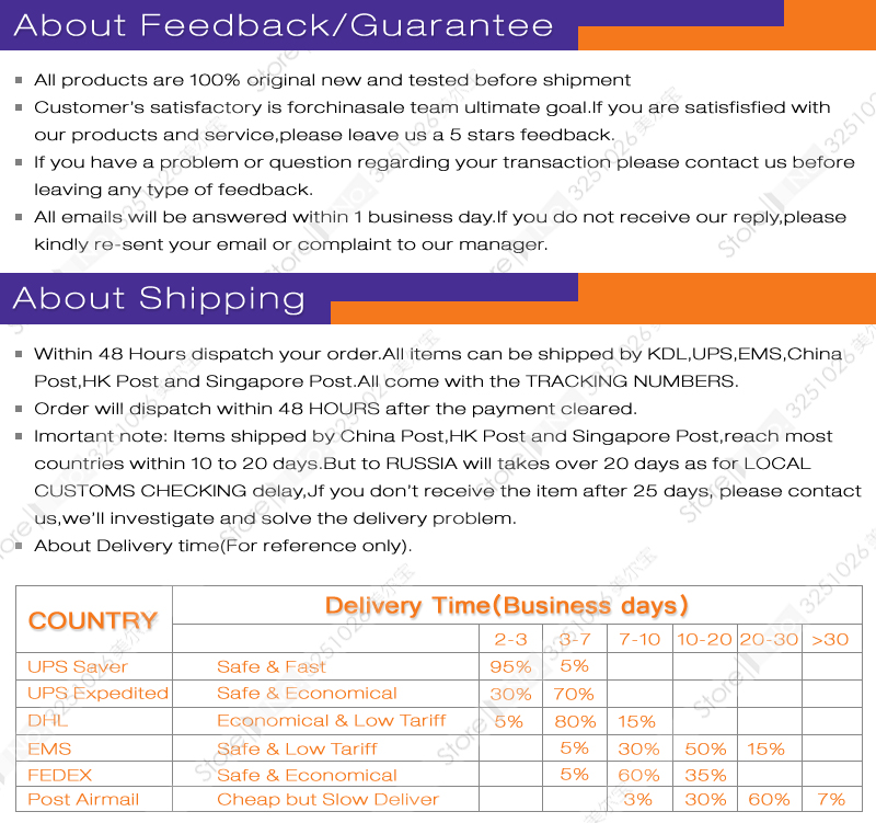 Feedback shipping800