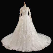 55e0455d17 Robe Ceremonie Enfant Mariage Romantic O-neck Ball Gown Lace Appliques Butterfly  Wedding Dress Long