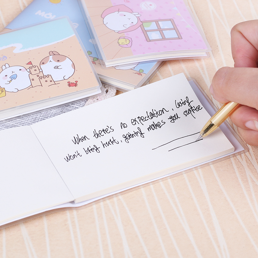 1PC Cute Cartoon Molang Love Fat Rabbit Portable Small Plastic Covers Notebook Creative Small Notebooks School Stationery