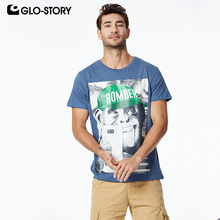 GLO-STORY 2019 Fashion Summer Mens Short Sleeve T-Shirt Fun Print Style Streetwear Male Tops Tee Shirts MPO-8674