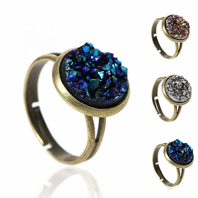 DoreenBeads Women Copper Adjustable Drusy Rings Round Antique Bronze Royal Blue