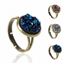 DoreenBeads Women Copper Adjustable Drusy Rings Round Antique Bronze Royal Blue Silver-gray AB Color 16.7mm(US size 6.25), 2 PCs