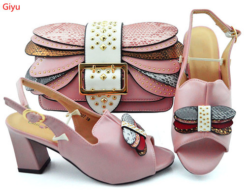 doershow wine Matching Shoes and Bag Set Decorated with Rhinestone African Women Italian Shoes and Bag Set for Wedding SKP1-44
