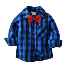 Spring&autumn New Kids Plaid Shirt England Cotton Long Sleeve Blouses With Bow Casual Shirts Boy Girl Clothes For 2-7 Years new boys shirt for kids cotton clothing 2018 fashion new baby boy plaid shirts long sleeve england school trend children clothes