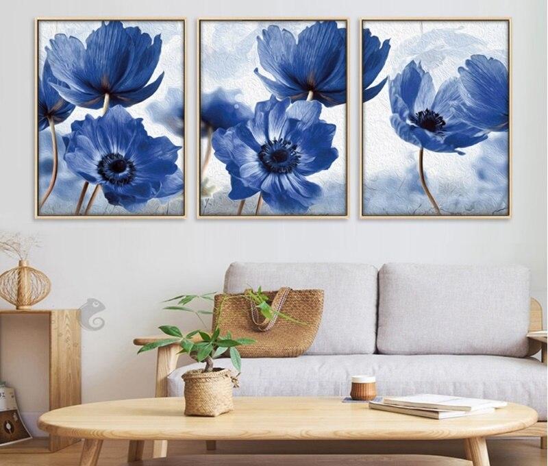Nordic Simples Flores Azuis Pinturas Decorativas Cartazes e Cópias Da Lona Retrato Da Arte Da Parede para Sala de estar Decoração de Casa