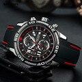 Megir аналоговый хронограф батарея кварцевые часы для мужчин черный силиконовый браслет спортивные наручные часы мальчик секундомер 2045 г