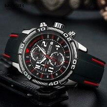 Megir analogowy chronograf bateria kwarcowy zegarek dla człowieka męska czarny silikonowy Bracelete sportowy zegarek chłopięcy stoper 2045G