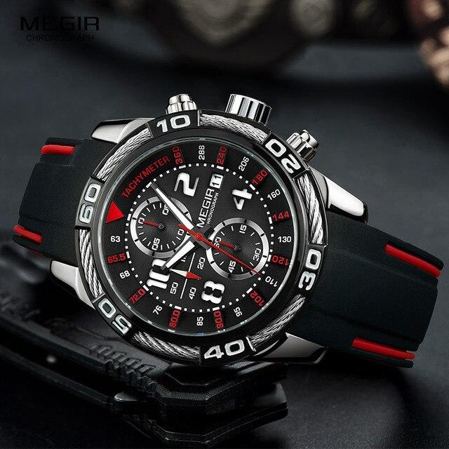 Megir reloj de cuarzo con batería y cronógrafo analógico para hombre, pulsera deportiva, brazalete de silicona negro, cronómetro, 2045G