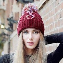 Женская мода Зима Теплая Вязания Шапочки КОНТРАСТ ЦВЕТ Сшивание 100% Ручной Работы Вязаная Шапка Шапка