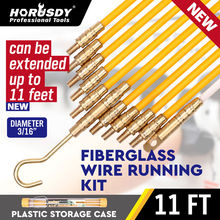 цена на HORUSDY Fiberglass Wire Cable Running Rods Fish Pulling Wire Holder Kit Electrical Wires With Hooks 3/16  x 11' Electrical Cord
