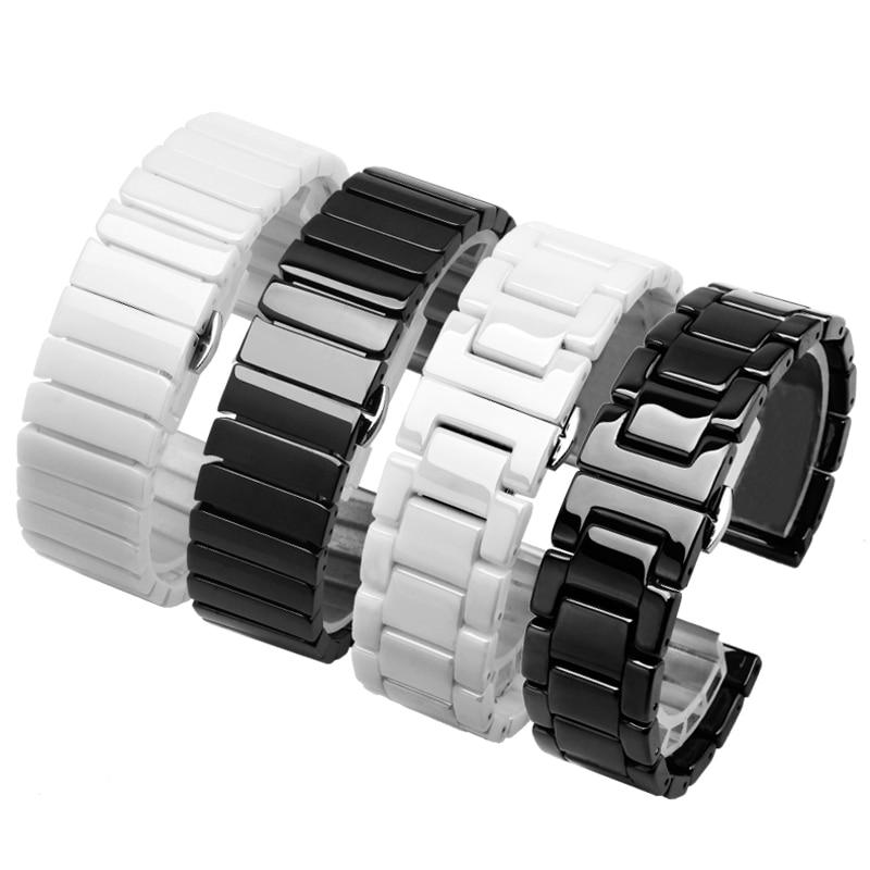 Высококачественный керамический ремешок для часов, 14, 15, 16, 17, 18, 19, 20, 21, 22 мм, черно-белый ремешок для часов, браслет для мужчин и женщин