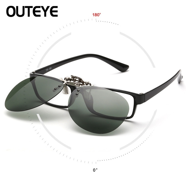 53baa85a24b OUTEYE Eyewear Mirror Polarized Sunglasses Men Night Vision Lens Sun Glasses  Flip Up Clip On Sunglass Outdoor Goggles