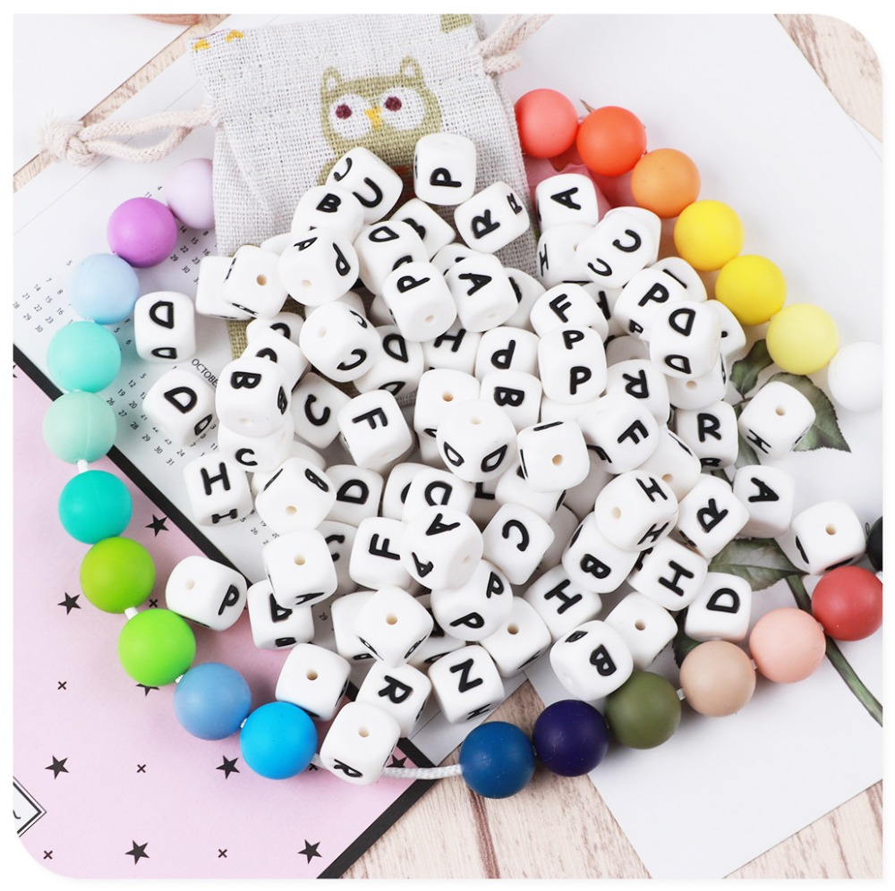 10PCS Silicone Alphabet Letter Beads Personalized Name Teether  Handmade Silicone Pacifier Chains Bead BPA FREE