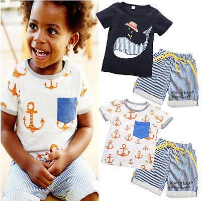 2016 Summer Casual Baby Kids Boys Clothes Short Sleeve Cartoon Shark/Anchor Printed Tops T-shirt+Striped Shorts Outfits 1-7Y