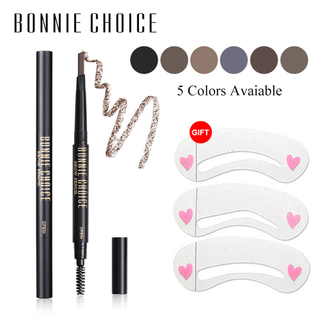 BONNIE CHOICE Eyebrow Pencil Long Lasting Waterproof Automatic Eyebrow Pen Eye Brow Tint +3Pcs Stencils Grooming Kit Makeup Tool