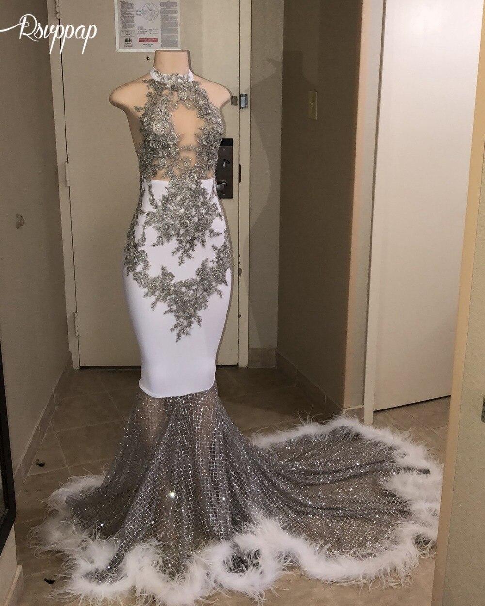 Longues robes de bal Sexy 2019 pure o-cou sans manches paillettes scintillantes plume africaine noire fille blanche sirène robe de bal