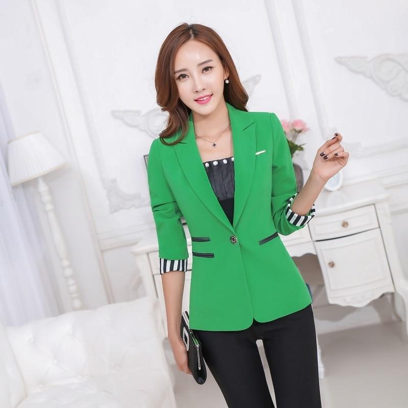 Fashion Female Green Blazers Women Outerwear Jackets Slim Elegant Las Work Wear Business Clothes Office Uniform Styles In From S Clothing