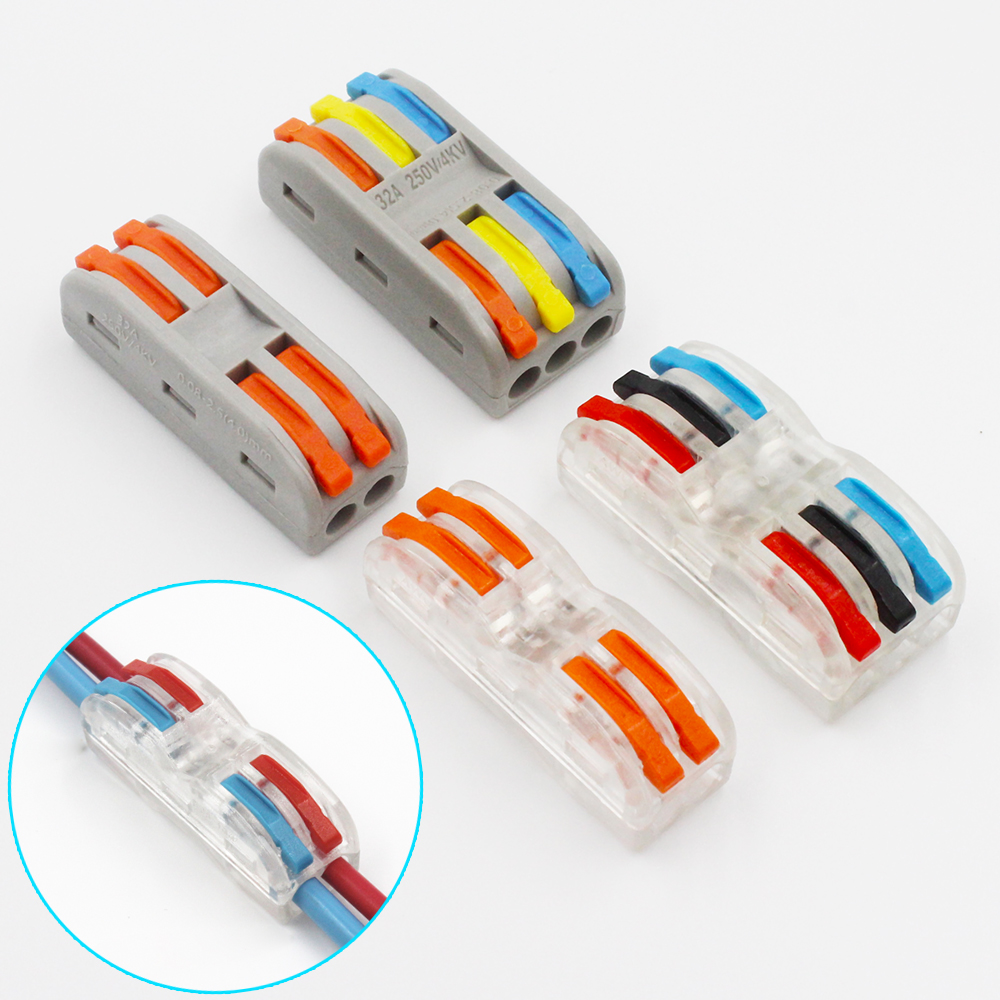 221 WAGO Style Mini Fast Wire Connectors,Universal 30-50pcs//Lot Free Shipping