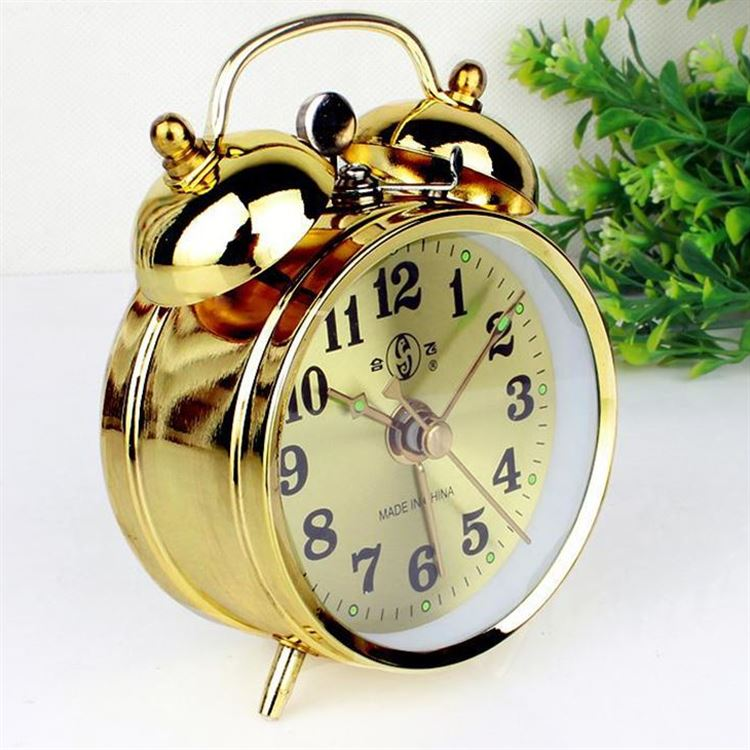 Nightlight Function Loud Alarm Battery Operated Slash 4 Vintage Retro Old Fashioned 3D Numerals Quiet Non-ticking Sweep Second Hand Green Quartz Analog Twin Bell Clock