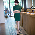 Free shipping Half Sleeve Green Qipao Cheongsam national trend chinese style dresses Vintage chinese dress