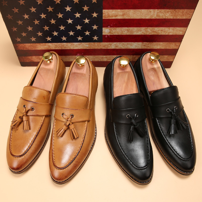 luxury brand mens pointed toe dress shoes famous loafer male gents formal wear ballet flats zapatos hombre oxford shoes for men  (9)