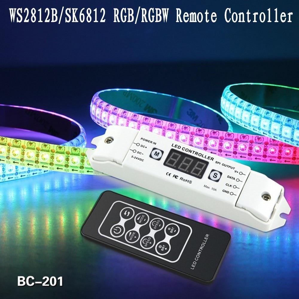 Newest Led Pixel Strip WS2811 WS2812B WS2801 LPD6803 LPD8806 SK6812 RGBW RGB LED Controller + RF Remote DC5V-24V BC-201