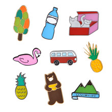 1pcs Metal Enamel Pins Mineral Water Bottles Car Bus Pineapple Bear Swan Kitten Cat Mountain Tree Brooch Bag Jacket Collar Badge(China)