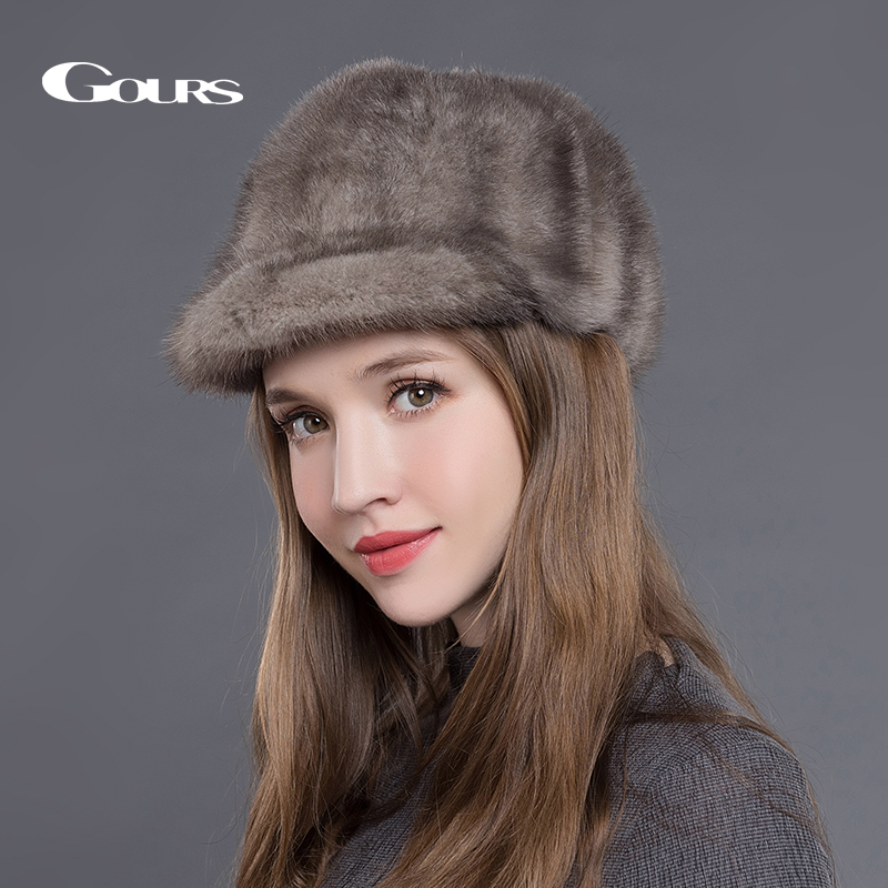 Gours Natural Mink Fur Hats for Women Winter Warm Fashion Luxurious Brand Ladies High Quality Visors