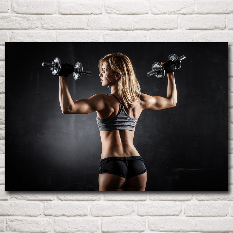 Dumbbell bodybuilding fitness sports art silk poster gym