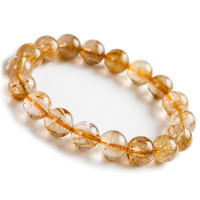 12mm Brazil Natural Yellow Gold Rutilated Quartz Crystal Stretch Clear Round Bead Bracelet Just One