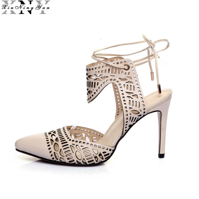 2017 Women Sandals Brand Designer Gladiator High Heels Sexy Open Toe Cut Outs Women's Shoes Lace Up Shoes Woman Pumps Mujer 4/15