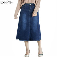 LXMSTH XS 8XL Wholesale Autumn Tassels High Waist Skirt Long Stretch A Line Denim Skirts Womens