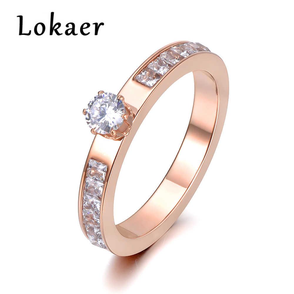 Lokaer แหวนสแตนเลส Rose Gold สี AAA Zircon Shinning Rhinestone สำหรับคริสต์มาสของขวัญผู้หญิงไม่เคยเลือน R18131