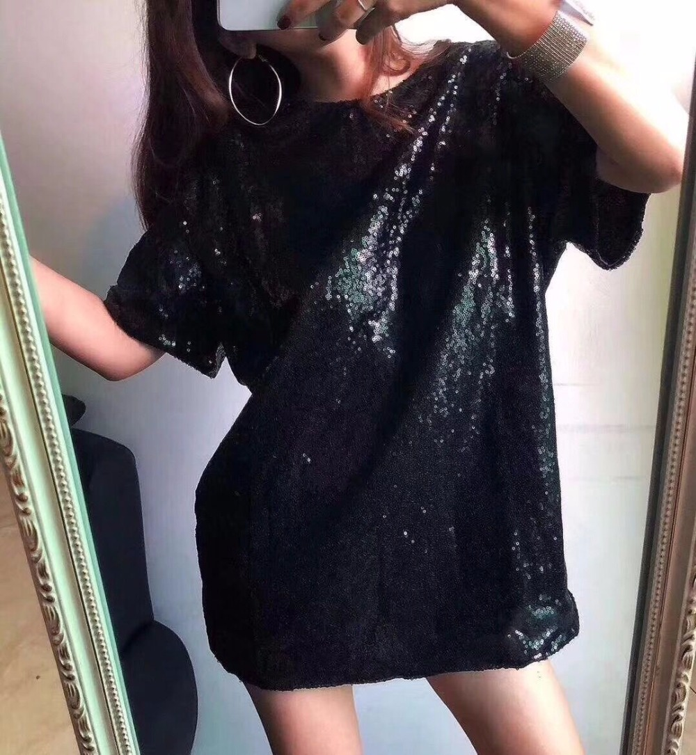 Bling Sequin Top 2018 Summer Hip Hop Top Solid Gold/silver Women T shirt INS Popular shirts girl Oversize Tops Harajuku LT118S30