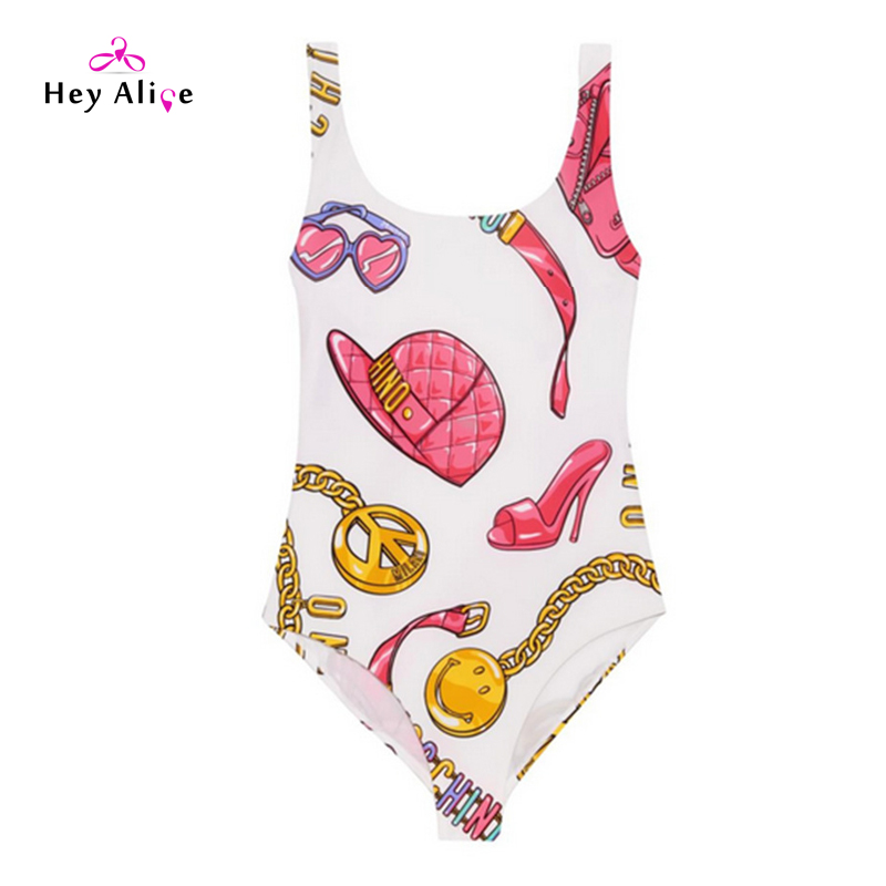 New One Piece Swimwear Women Printing Swiming Dress Sexy Girls Party Bathing Suit Backless Monokini Thong Bodysuit