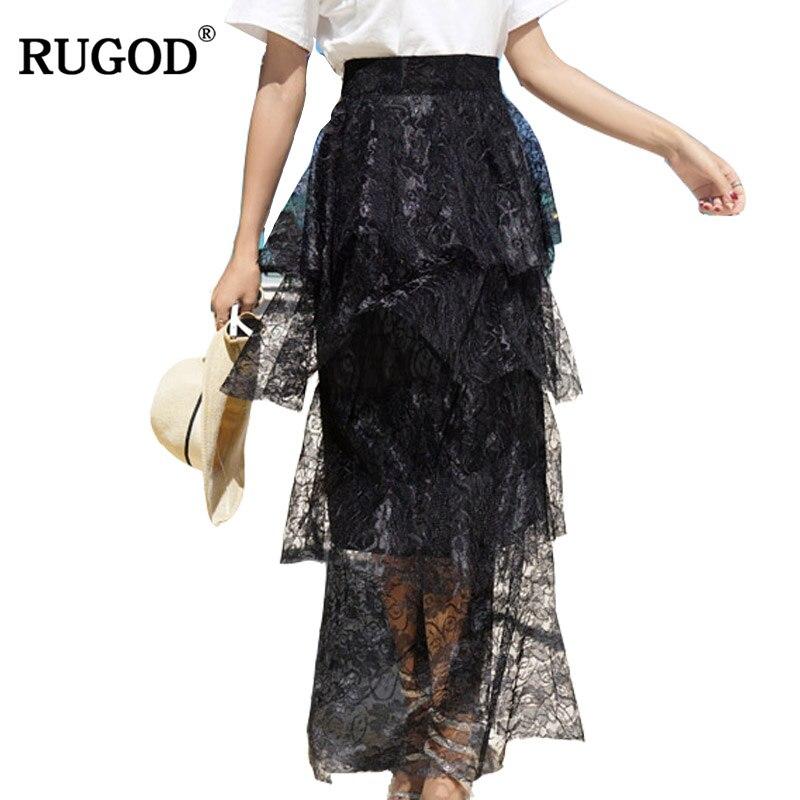 RUGOD 2018 Summer Fashion Long Cascading Ruffle Skirt Women Elegant High Waist Lace Cake Skirt Saia Holiday Wearing Faldas Mujer