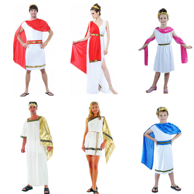 2018 Women Men Boys Girls Ancient Greek Goddess Cosplay Costume Adults Carnival Costumes Halloween Party Dress