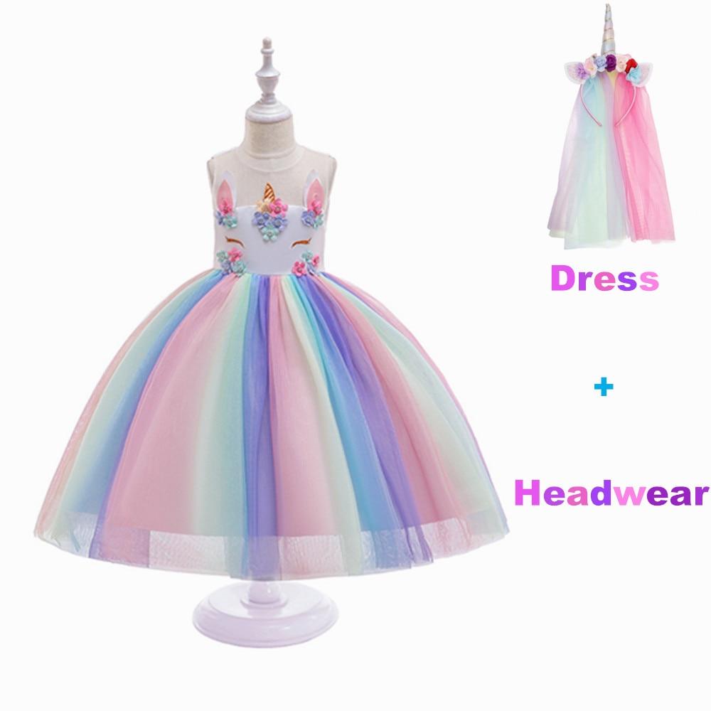 Girls cosplay costume Unicorn Dress Children's day Princess Girls Birthday Party Dress Children Kids Halloween Unicorn clothes