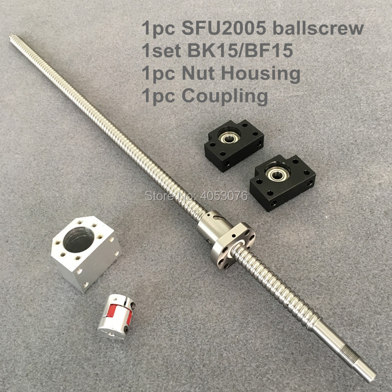 SFU / RM 2005 Ballscrew 1100-1500mm with end machined+ 2005 Ballnut + BK/BF15 End support +Nut Housing+Coupling for CNC ballscrew sfu rm 2010 850mm ballscrew with end machined 2010 ballnut bk bf15 end support for cnc