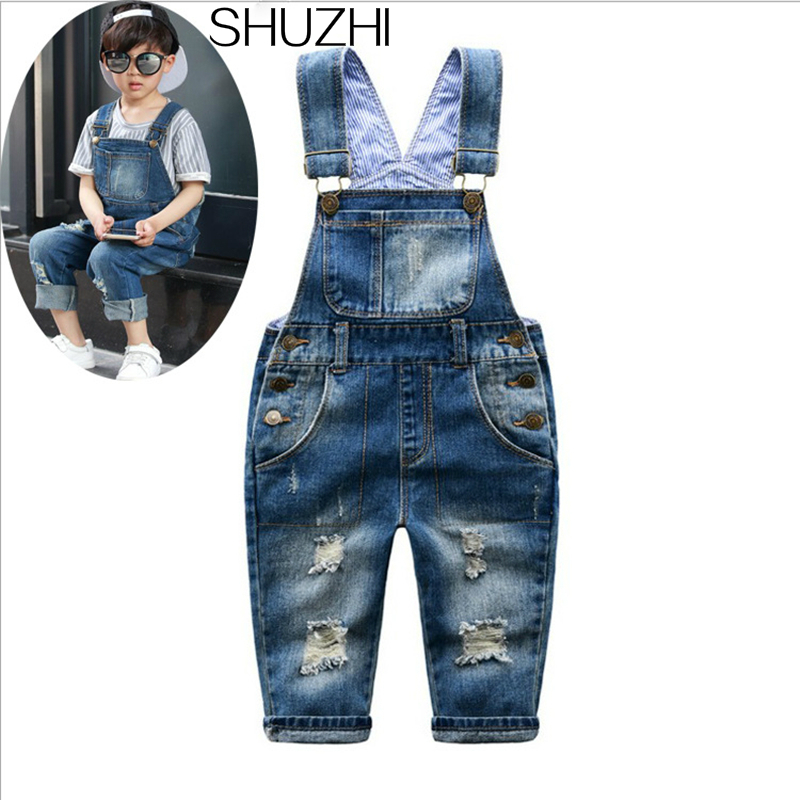 SHUZHI New Spring Distrressed Kids Jeans Hole Baby Boy Girl Jeans jumpsuit Kids Denim Overalls Fashion Children Suspenders Jeans все цены