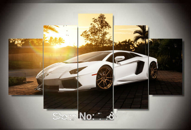 5 pcs white sports car wall art painting home decoration living room canvas print painting on