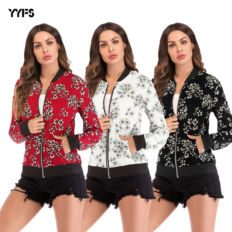 2018 herbst Neue Baseball Uniform Frauen Zipper Mantel Gedruckt Lange-Ärmeln Jacke Weibliche