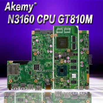 AKemy X541SC Laptop motherboard For Asus X541SC  X541S X541 Teste mainboard original 4g RAM N3160 CPU GT810M-2G akemy x200la i3 4010 4gb ram mainboard rev2 1 for asus f200la f200l x200l x200la laptop motherboard 100