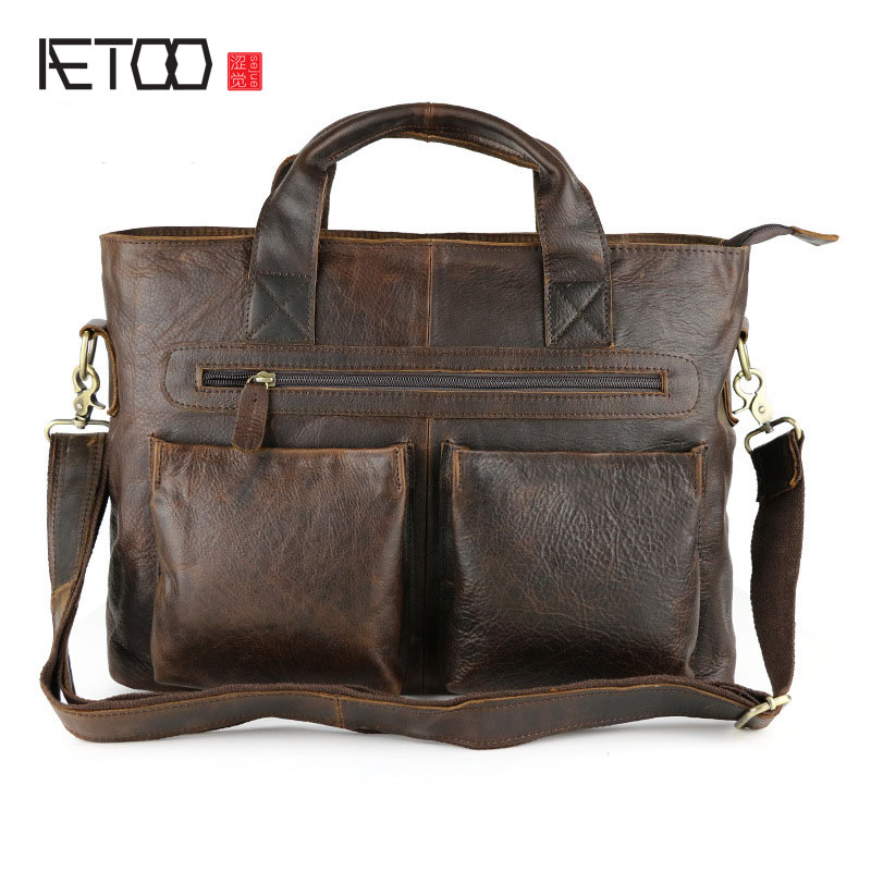 AETOO Crazy horse skin men bag men retro casual bag shoulder shoulder Messenger leather men bag hervé léger by max azria короткое платье
