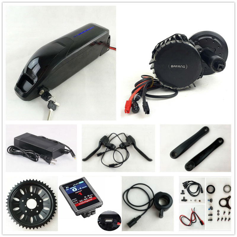 US EU No Tax 48V 1000W BafangBBSHD BBS03 8Fun mid drive Motor Kit with Sanyo GA cell 52V 14Ah Li-ion Dolphin E-Bike Battery