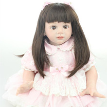 24 inch Toddler Reborn Doll Fridolin 60cm Lifelike Reborn Baby Doll With Pink Lace Princess Dress For Girl Gift