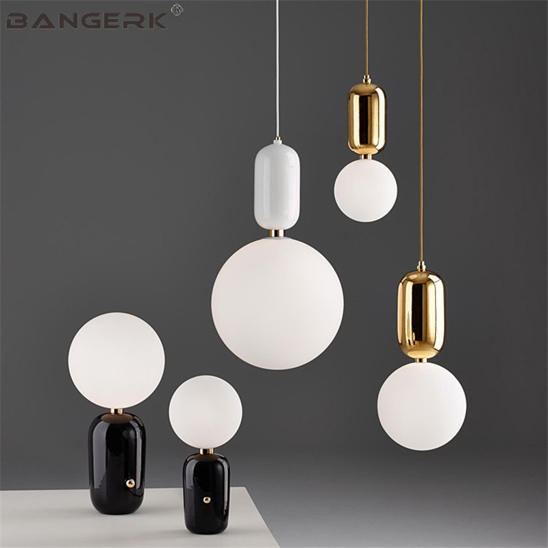 Nordic Design Glass Ball Luminaire LED Pendant Light Modern Indoor Hanging Lamp Home Decor Lamps Pendant Lighting Fixtures