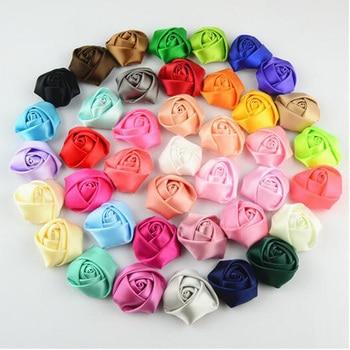 Cheap 500Pcs/lot DIY Hand Made DIA 3.5CM Satin Rose Artificial Ribbon Flower For Make Bridal Bridesmaid Wedding Bouquet Decor