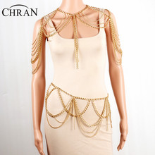 Chran Gold Tone Beach Chain Shoulder Bralette Necklaces & Pendants For Women Sexy Body Belly Waist Chain Party Jewelry BC0400
